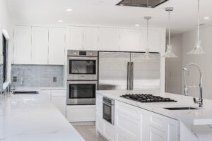 kitchen with quartz top counter on island